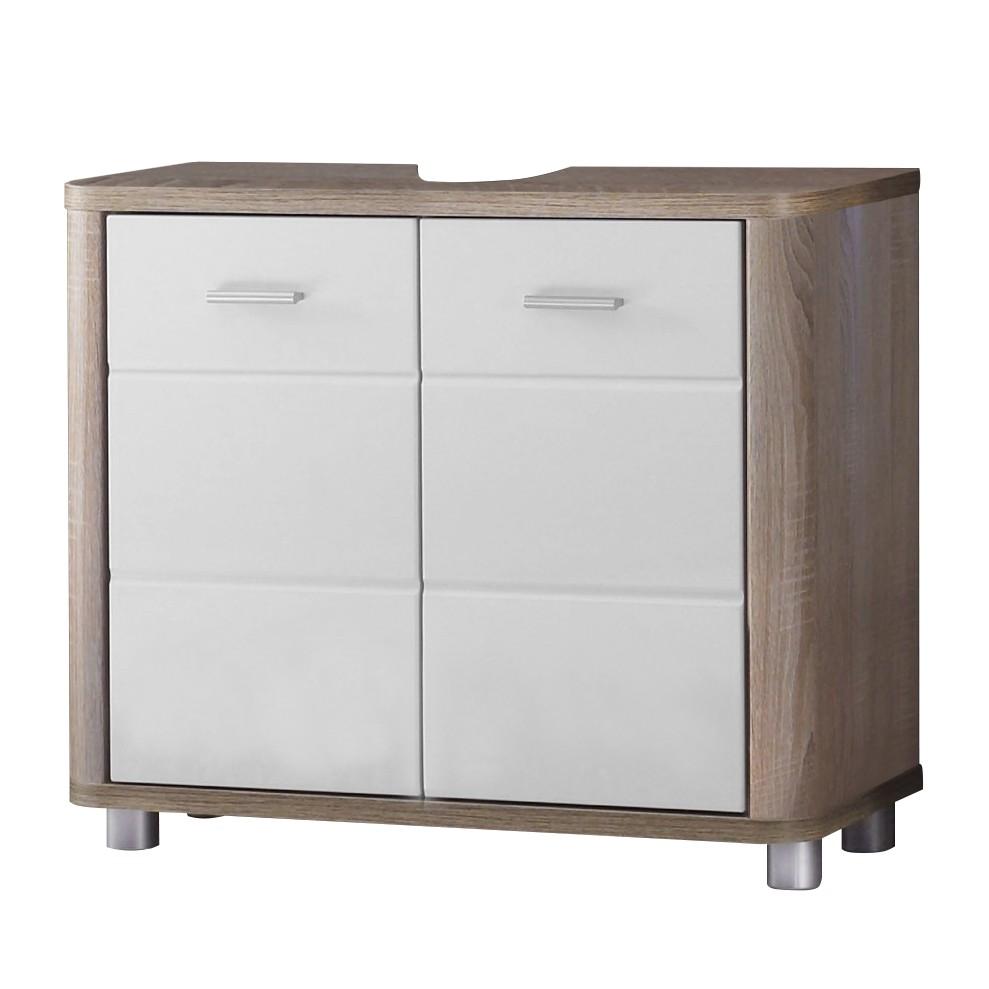 Armadietto da lavabo Pawitik - Bianco lucido/Sonoma, mooved