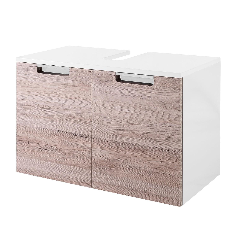 Armadietto da lavabo Romana - Bianco lucido / Effetto quercia, Schildmeyer