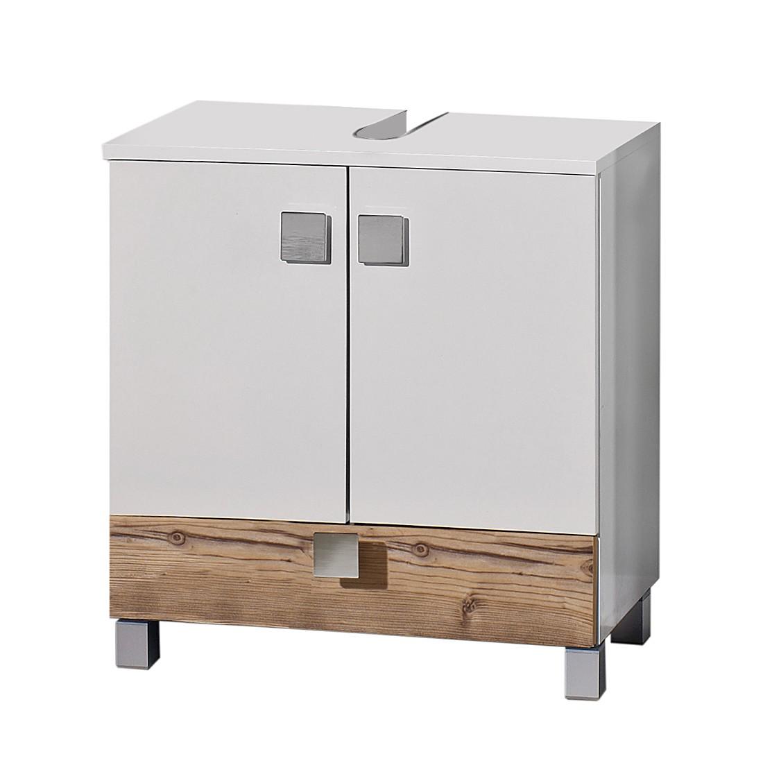 Mobile da lavabo Toronto - Con un cassetto Bianco lucido/Effetto argentato, Schildmeyer