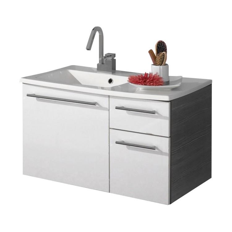 Home 24 - Meuble lavabo markham - pin couleur anthracite / blanc brillant, aqua suite