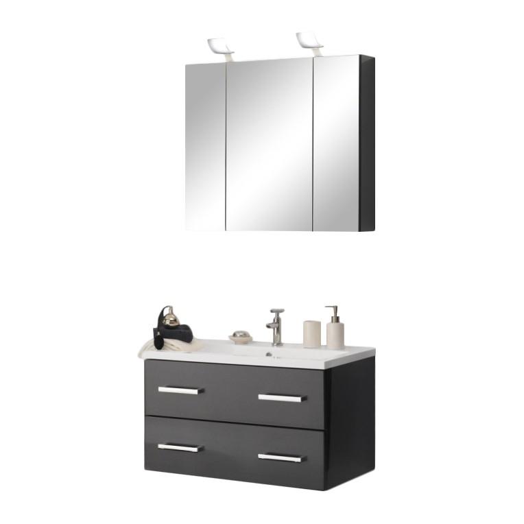 energia B, Piano da lavabo Montreal - Inclusivo di + Armadio a specchio 80cm color antracite lucido, Aqua Suite