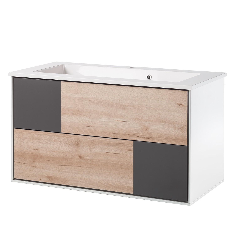 Mobiletto lavabo Bodo - Effetto faggio/Basalto/Bianco opaco, Schildmeyer