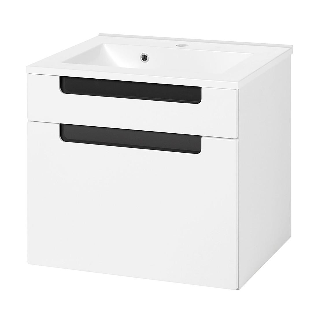 Armadietto da lavabo Laris I - Bianco lucido/antracite, Giessbach