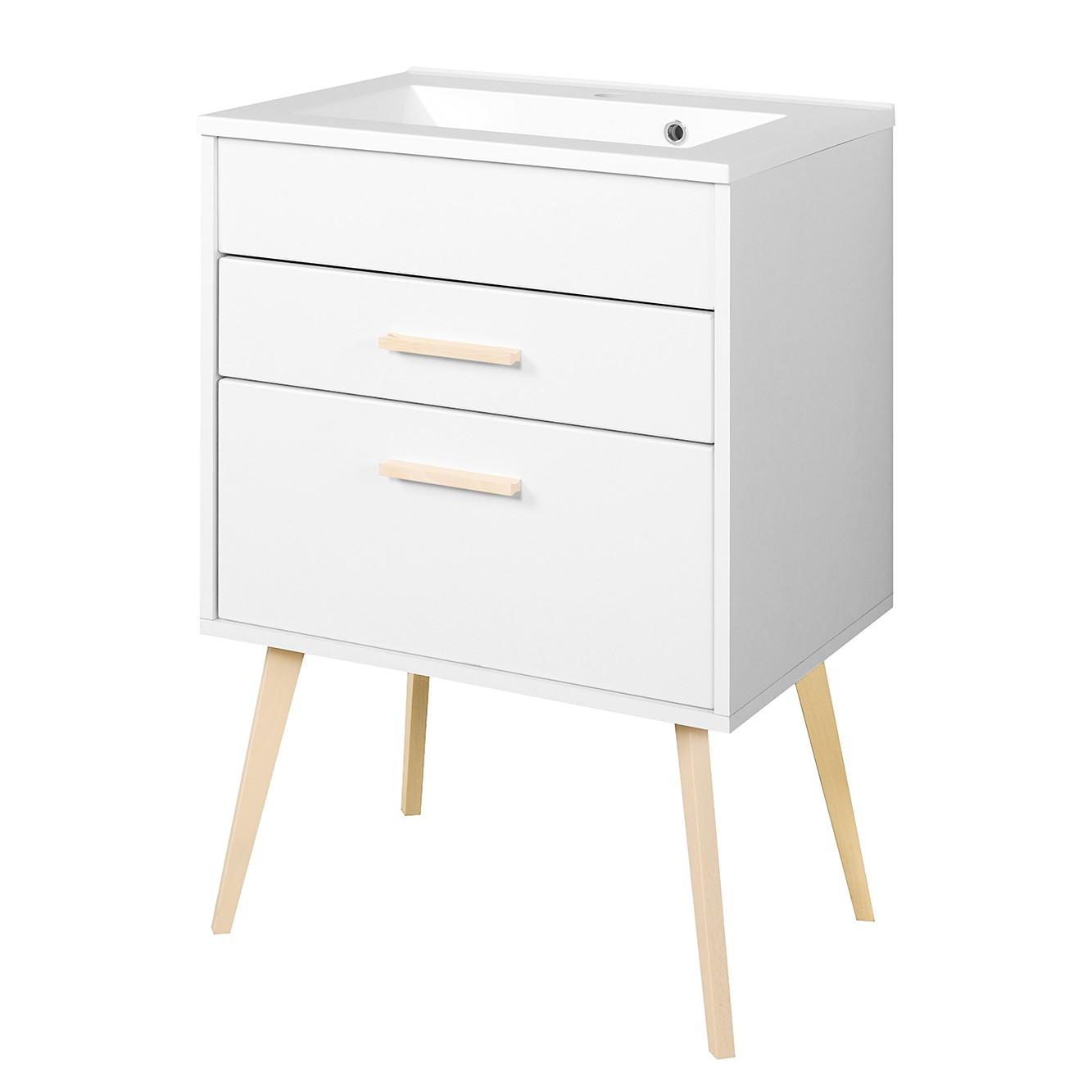 meuble lavabo oslo partiellement en h tre massif blanc mat 60 cm. Black Bedroom Furniture Sets. Home Design Ideas