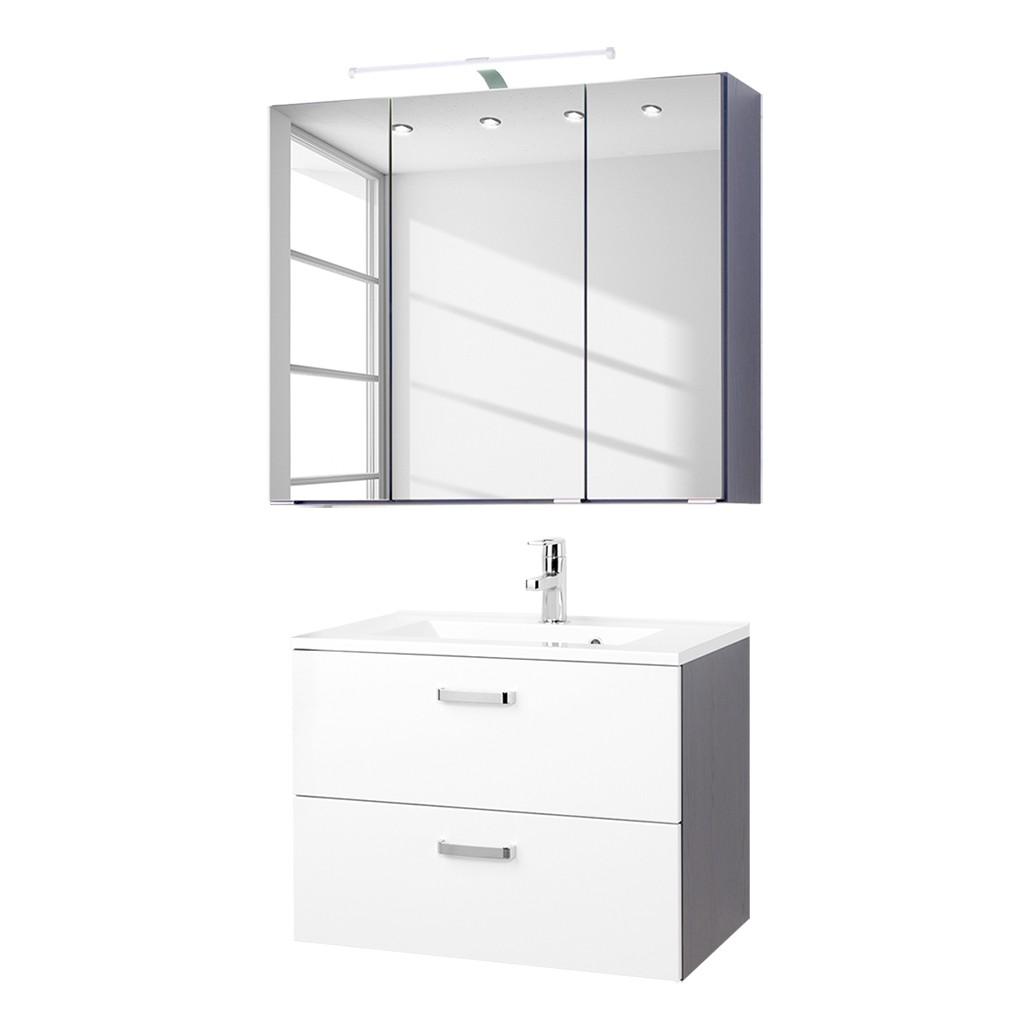 Home 24 - Ensemble pour lavabo zeehan (2 éléments) - blanc / gris 70 cm, fredriks
