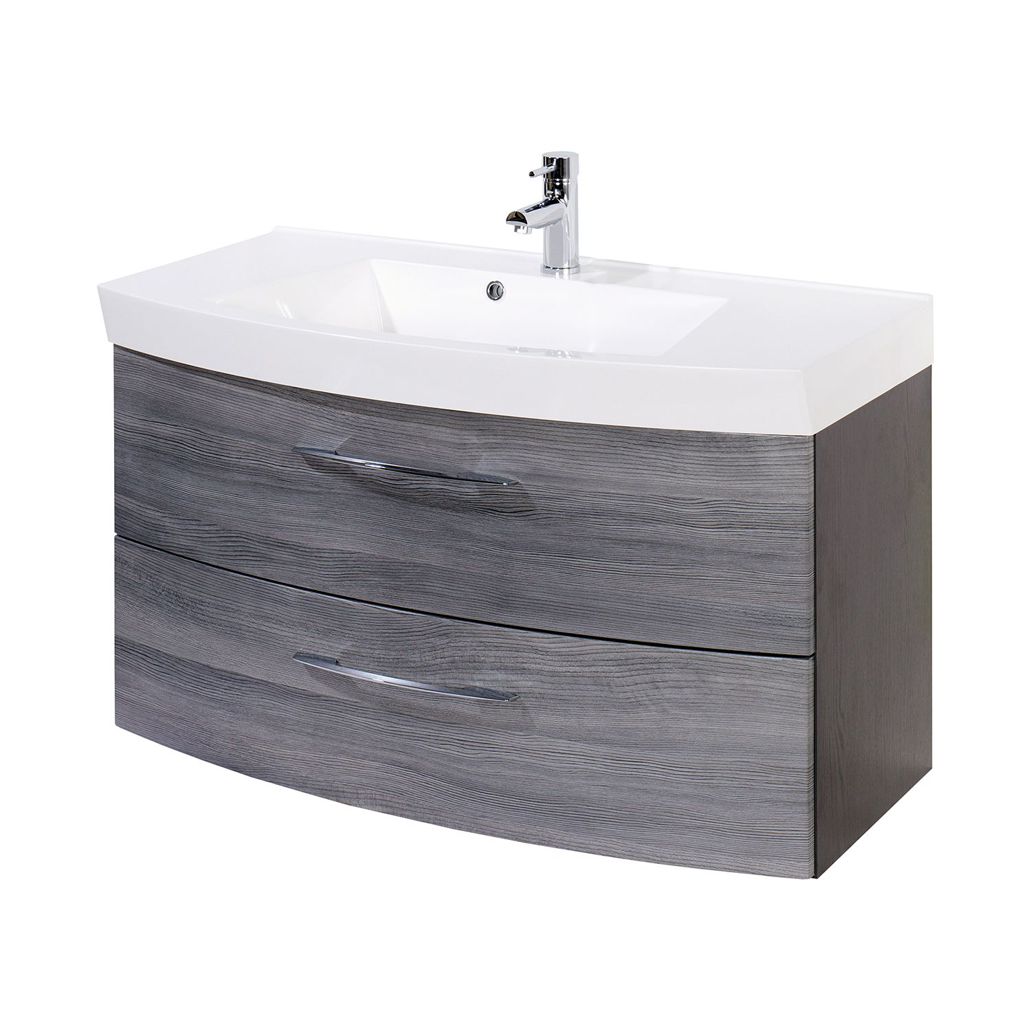 Mobile lavabo Strahan - Grigio / Marrone, Giessbach