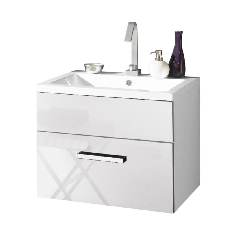 Armadietto da bagno Victoria - Lavabo incluso Bianco lucido 60 cm, Aqua Suite