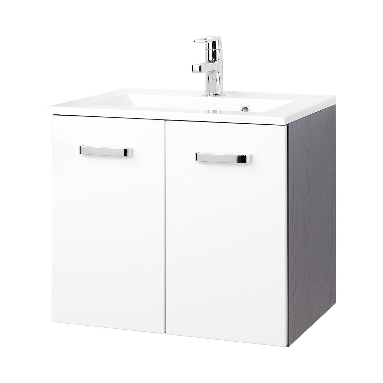 Mobile lavabo Zeehan - Bianco / Grigio - 60 cm, Giessbach