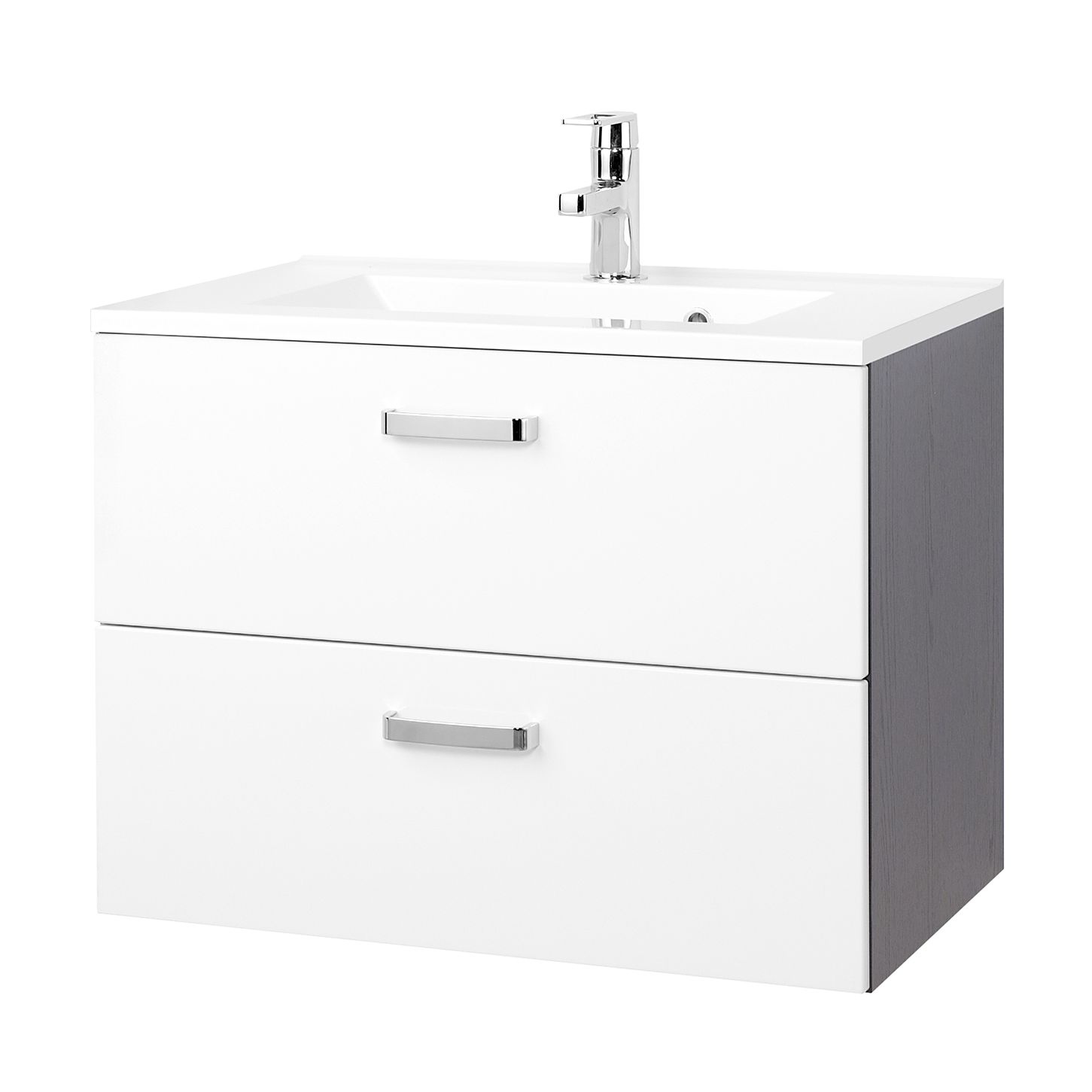 Home 24 - Meuble lavabo zeehan - blanc / gris - 70 cm, giessbach