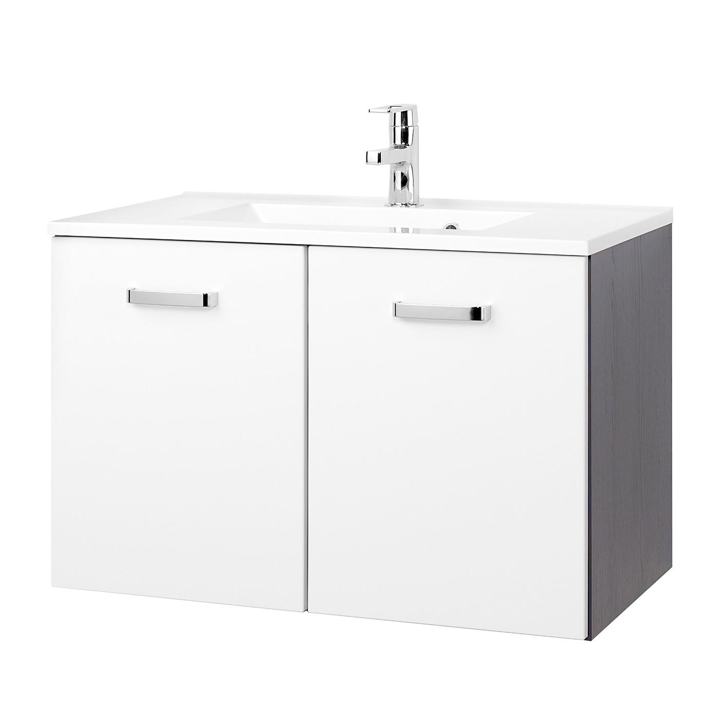Mobile lavabo Zeehan - Bianco / Grigio - 80 cm, Giessbach