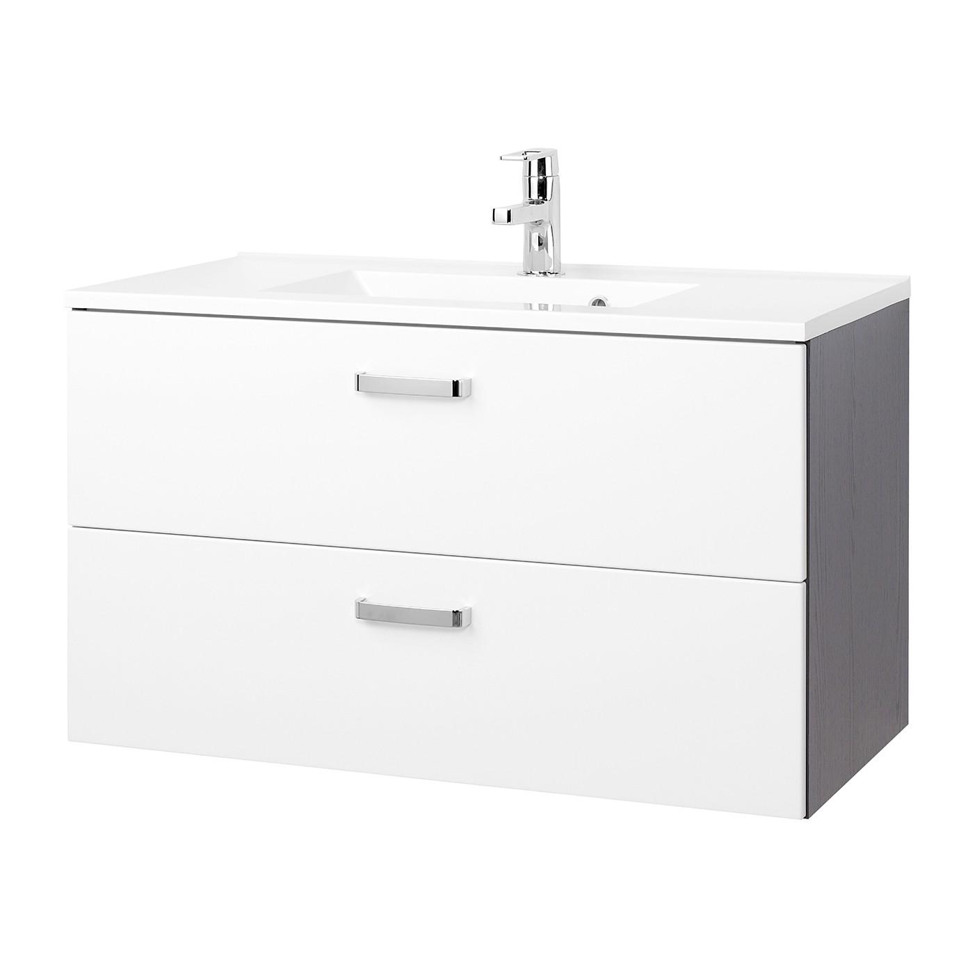 Mobile lavabo Zeehan - Bianco / Grigio - 90 cm, Giessbach