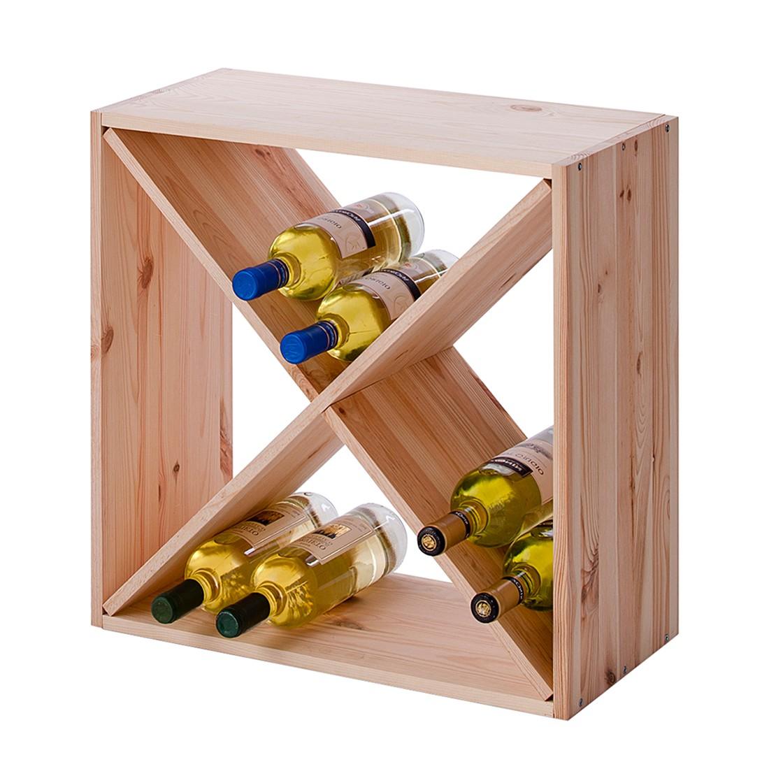 Dispensa porta bottiglie di vino bendik ii - legno massello abete rosso naturale, Zeller