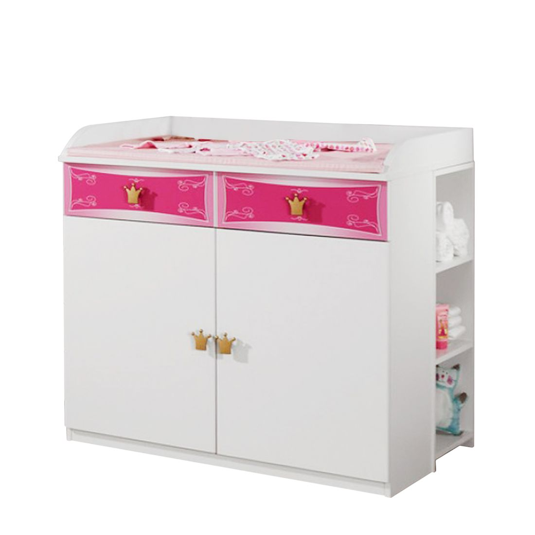 Commode à langer Kate - Couronnes décoratives dorées Blanc / Rose, Rauch Packs