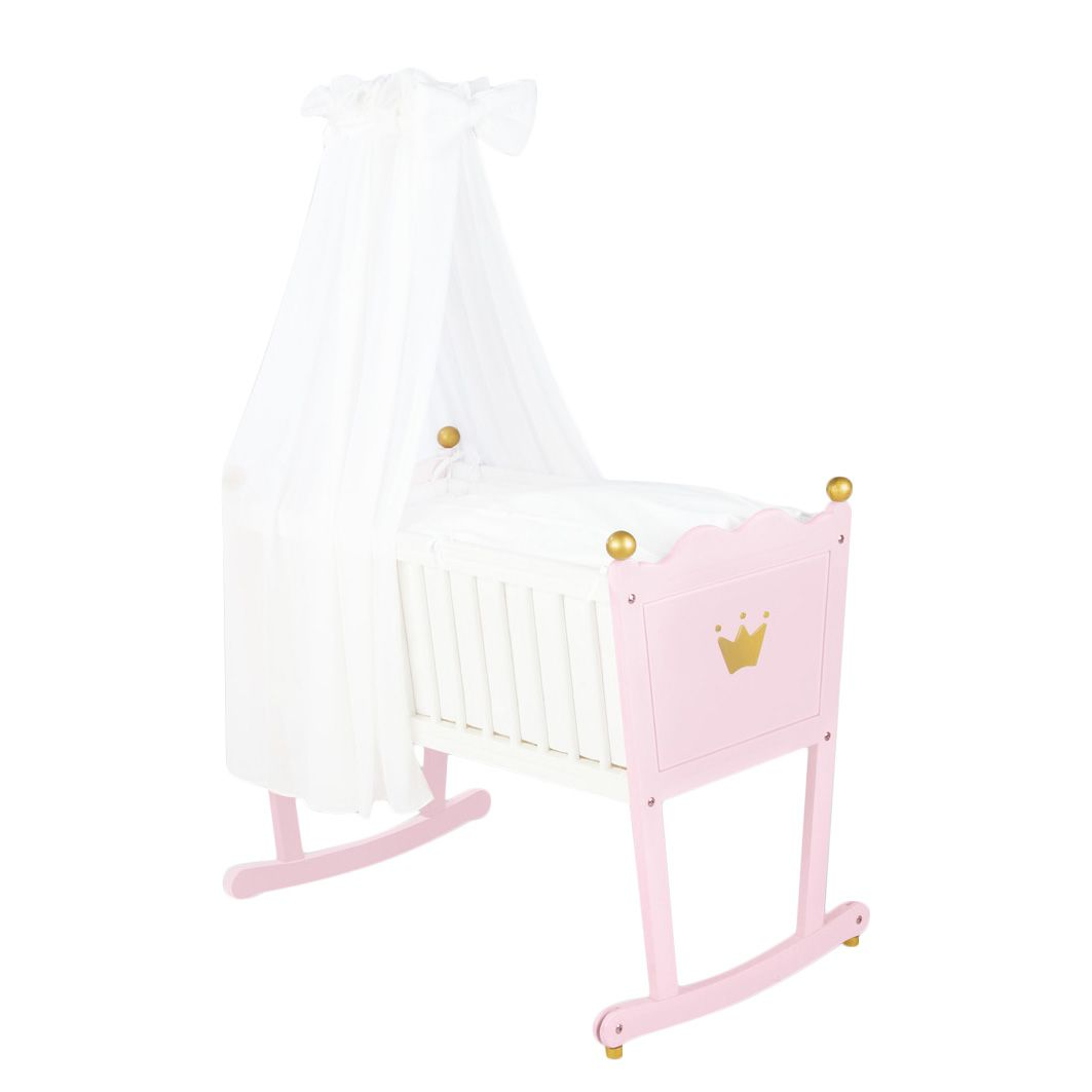 Ledikant Prinses Caroline  massief vuren wit roze gebeitst_ Pinolino