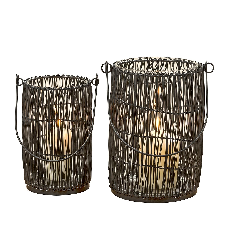 Windlichten Bubunan (2-delig) - metaal/glas - zwart, ars manufacti