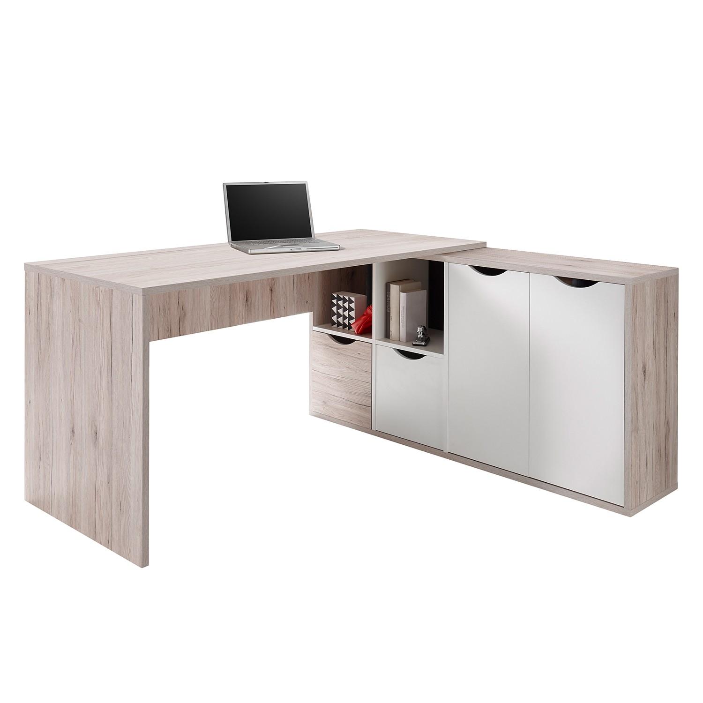 Winkelschreibtisch Annecy - Sandeiche / Weiß, roomscape