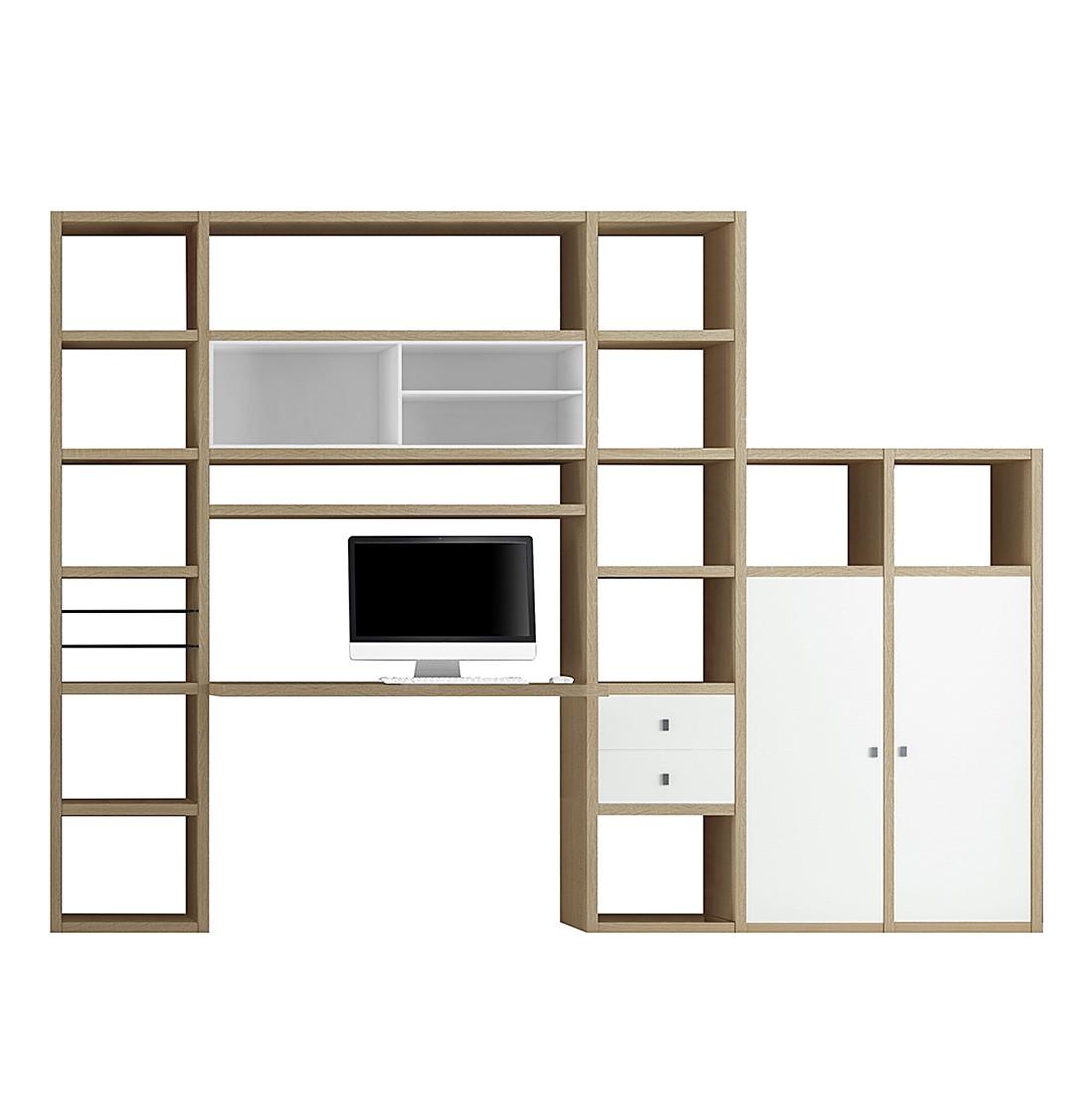 Wooncombinatie Emporior I - Wit/eikenhouten look, loftscape