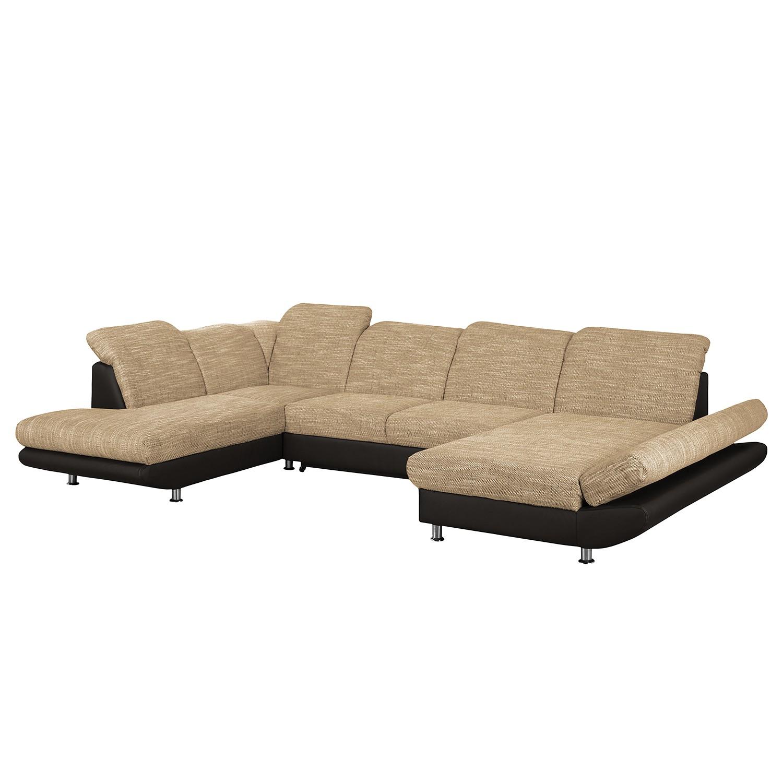 Canapé panoramique Bandya - Imitation cuir / Tissu structuré - Méridienne longue à droite / courte à