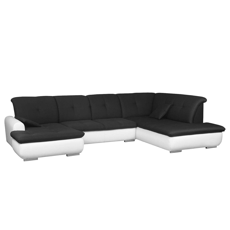 Zithoek Eulo - geweven stof/kunstleer - Longchair vooraanzicht rechts/links - Wit/zwart, roomscape