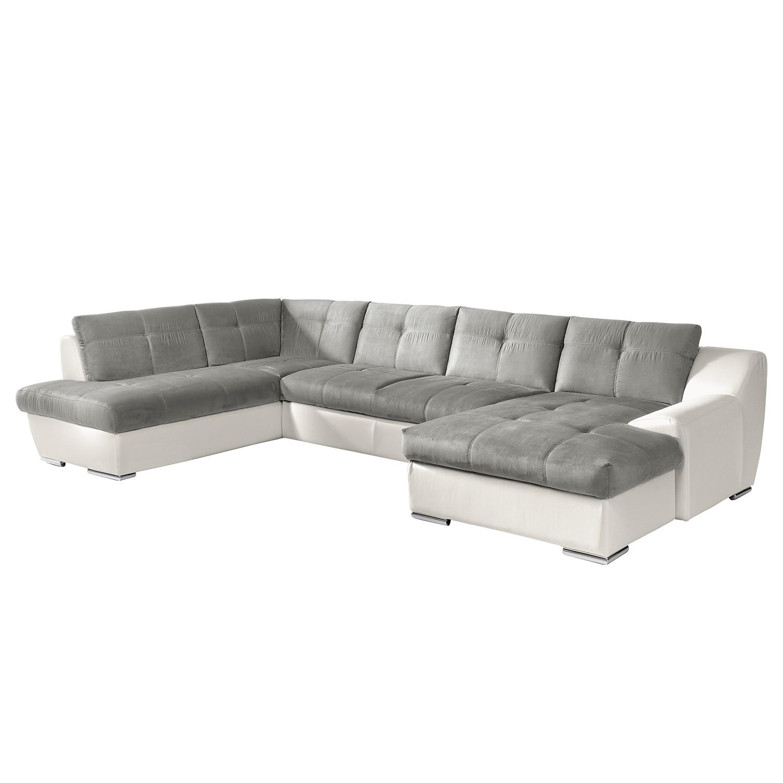 Canapé panoramique Hopkins - Tissu / Imitation cuir - Méridienne longue à droite / courte à gauche (