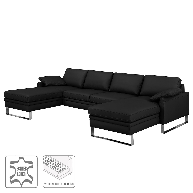 wohnlandschaft laureto ii echtleder schwarz nuovoform. Black Bedroom Furniture Sets. Home Design Ideas