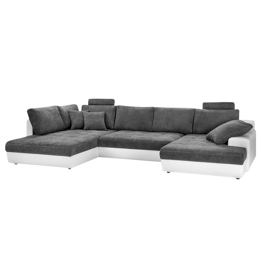 Canapé panoramique Marit (convertible) - Imitation cuir blanc / Microfibre gris foncé, Fredriks