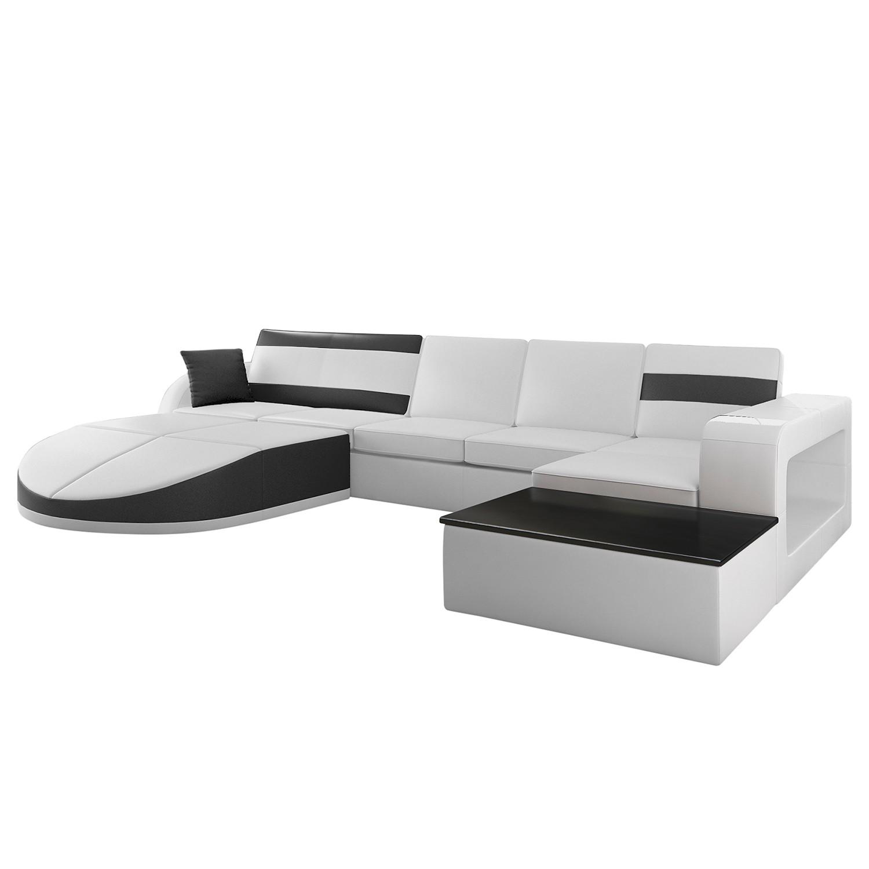 Canapé modulable Miami - Cuir synthétique noir / blanc - Méridienne avec tablette en bois à droite (