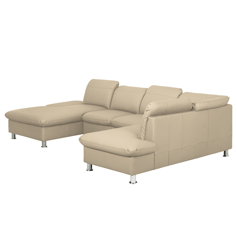 Canapé panoramique Napola (convertible) - Cuir véritable - Méridienne longue à gauche / courte à dro
