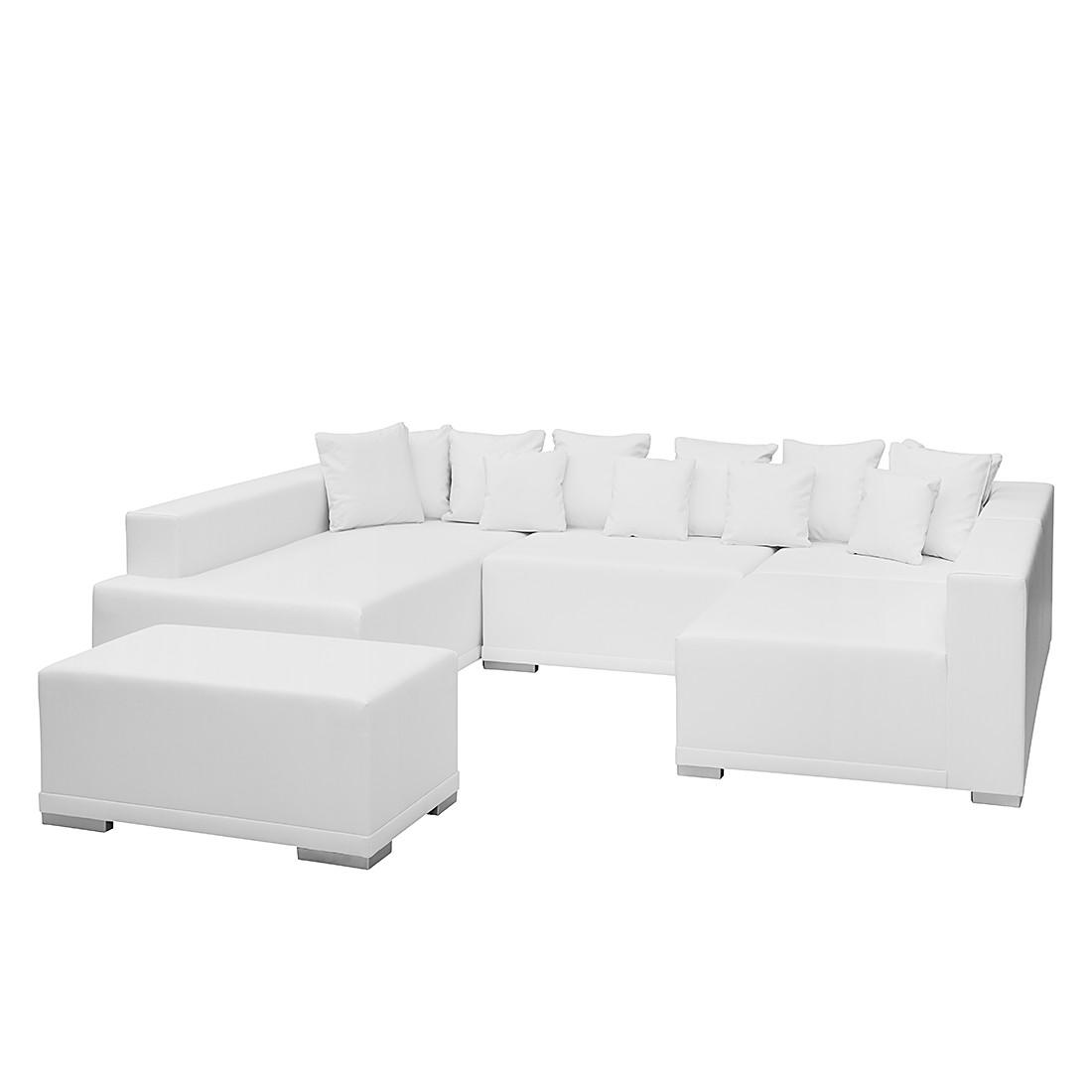 Canapé modulable Neo (avec repose-pieds) - Cuir synthétique blanc - Méridienne à gauche, mooved