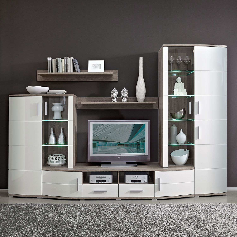 EEK A+, Ensemble de meubles TV Altona (5 éléments) - Eclairage fourni - Blanc brillant / Imitation c