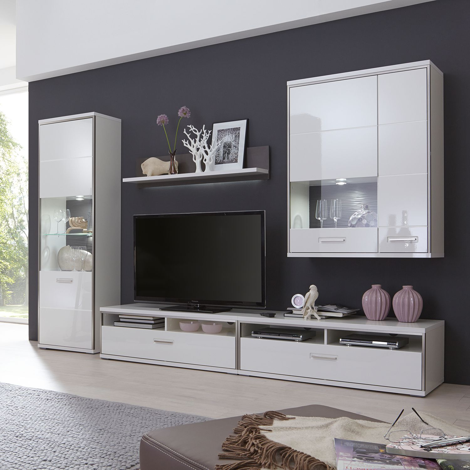 grau hochglanz wohnwand preisvergleich die besten angebote online kaufen. Black Bedroom Furniture Sets. Home Design Ideas