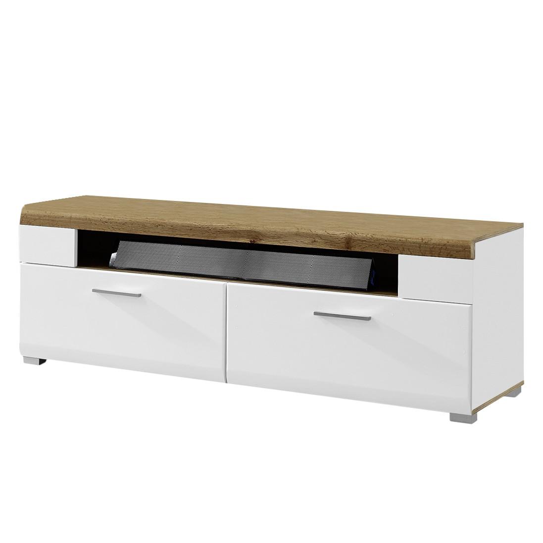 Meuble TV Aulby I - Blanc mat / Imitation chêne, loftscape