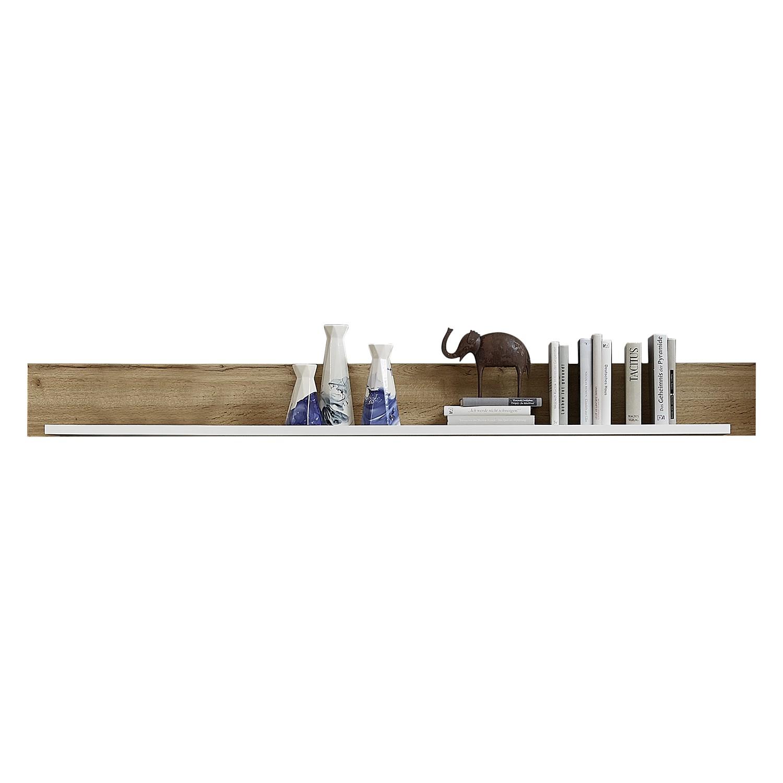 Wandplank Aulby - mat wit / eikenhouten look, loftscape