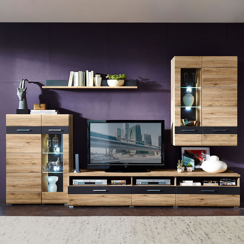 EEK A+, Ensemble de meubles TV Baja I (4 éléments) - Eclairage fourni - Imitation chêne de San Remo