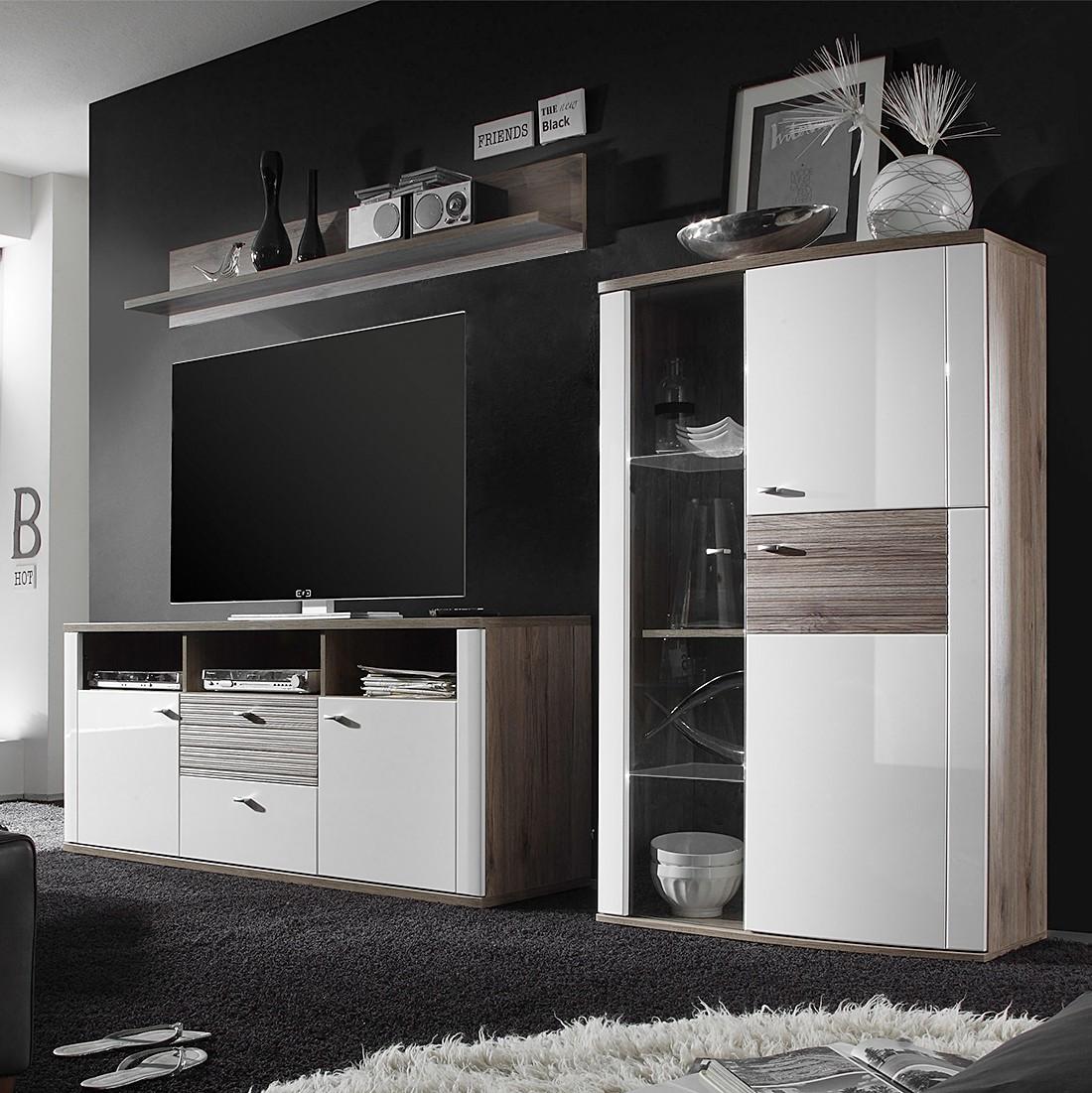 Ensemble de meubles TV Beethoven (3 éléments) - Blanc brillant / Imitation chêne San Remo - Sans écl