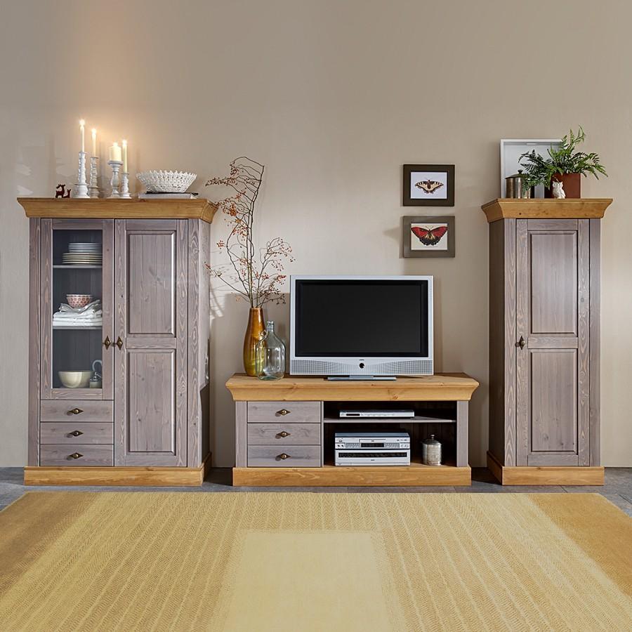 Ensemble de meubles TV Bergen (3 éléments) - Pin massif - Gris / Lessivé, Maison Belfort