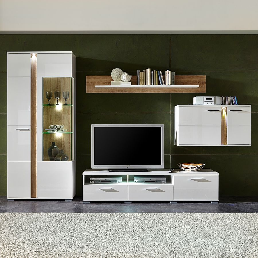 EEK A+, Ensemble de meubles TV Borger II (4 éléments) - Eclairage fourni - Blanc brillant / Imitatio