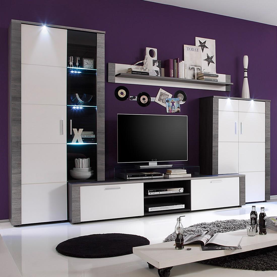 EEK A+, Ensemble de meubles TV Bormo (4 éléments) - Avec éclairage - Blanc brillant / Imitation frên