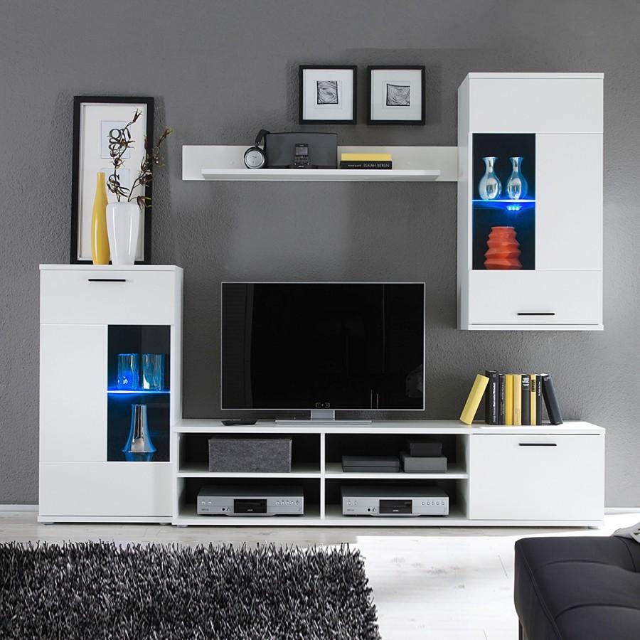 EEK A+, Ensemble de meuble TV Borna I (4 éléments) - Eclairage fourni - Blanc, mooved