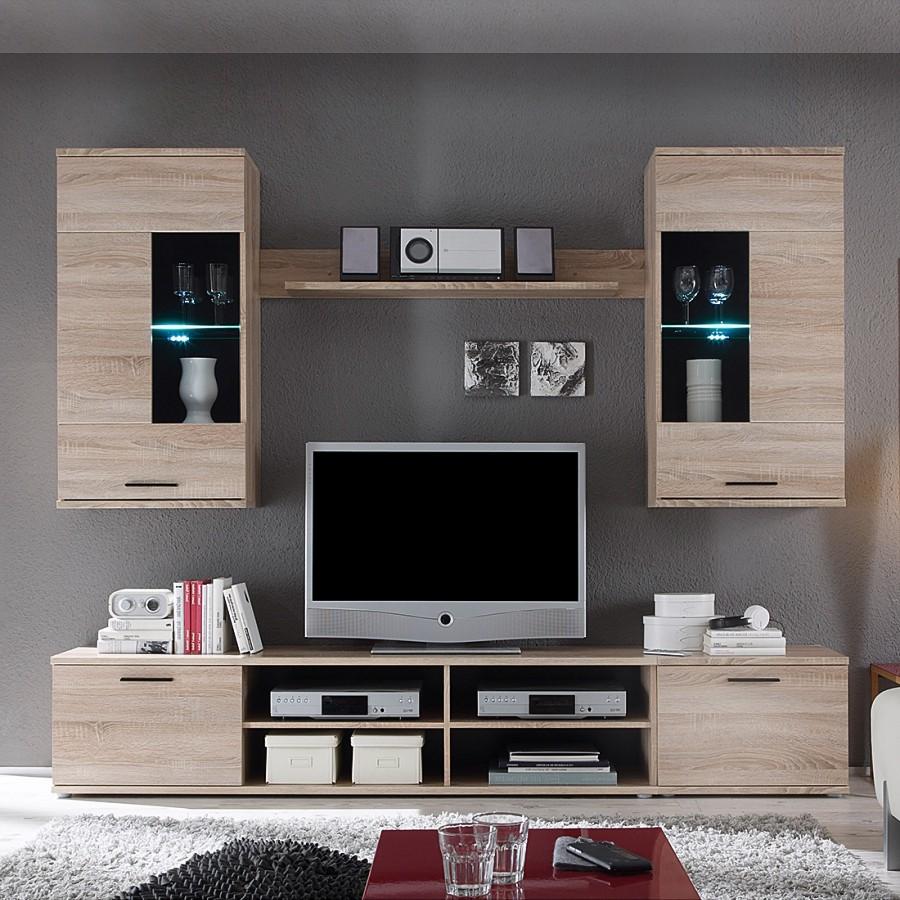 EEK A+, Ensemble de meubles TV Borna I I (4 éléments) - Eclairage fourni -Imitation chêne de Sonoma,