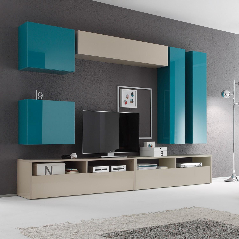 wohnwand box lc i 7 teilig hochglanz t rkis sand lc mobili g nstig bestellen. Black Bedroom Furniture Sets. Home Design Ideas