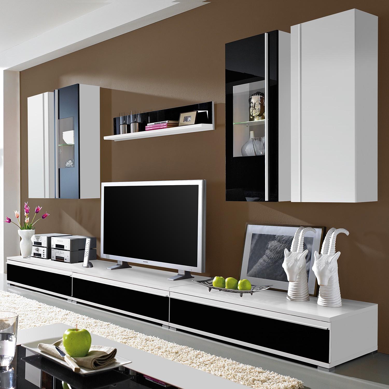 Wohnwand schwarz weiss preisvergleich die besten for Wohnwand cortino