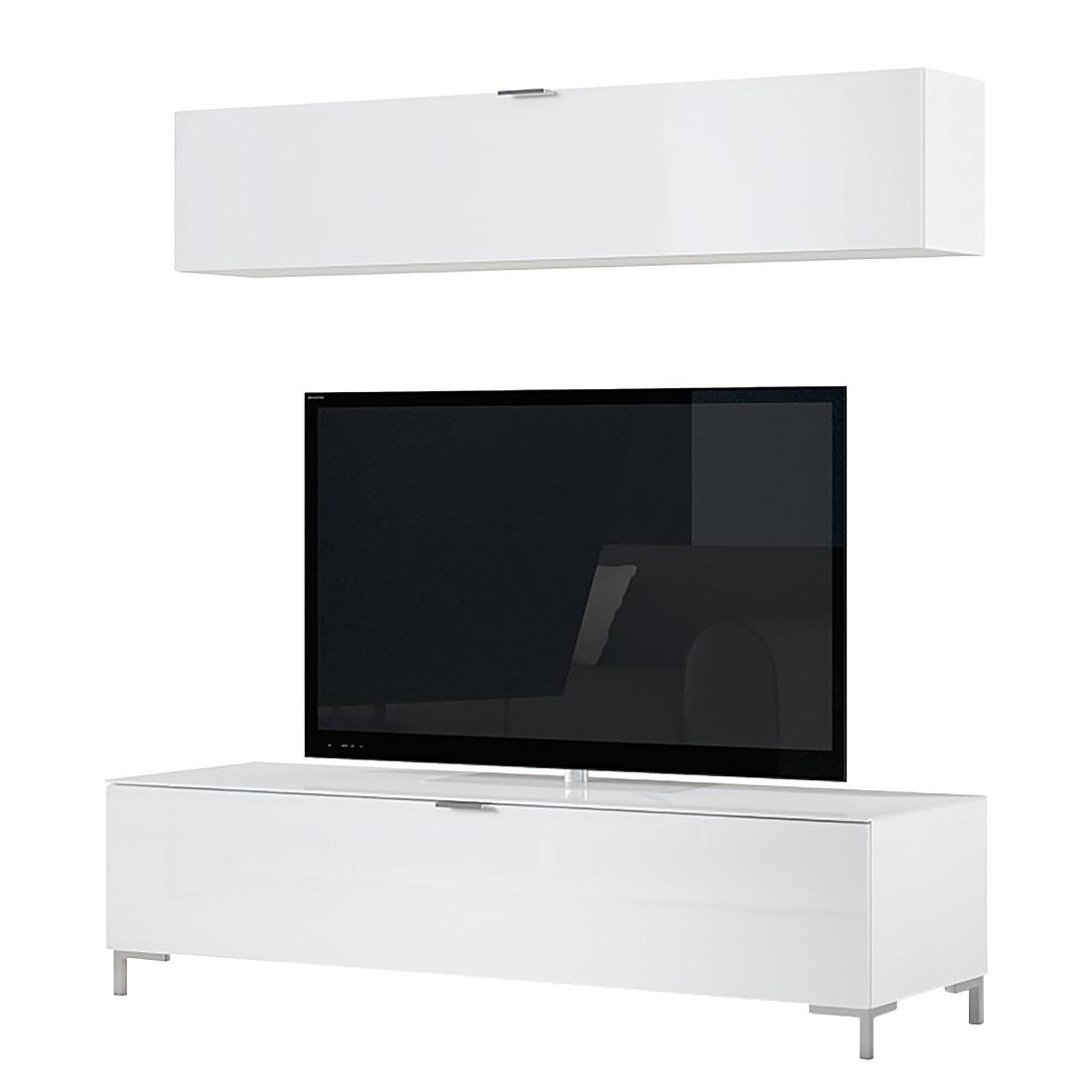 Ensemble de meubles TV Cleo I (2 éléments) - Blanc Pieds chromés, Cs Schmal
