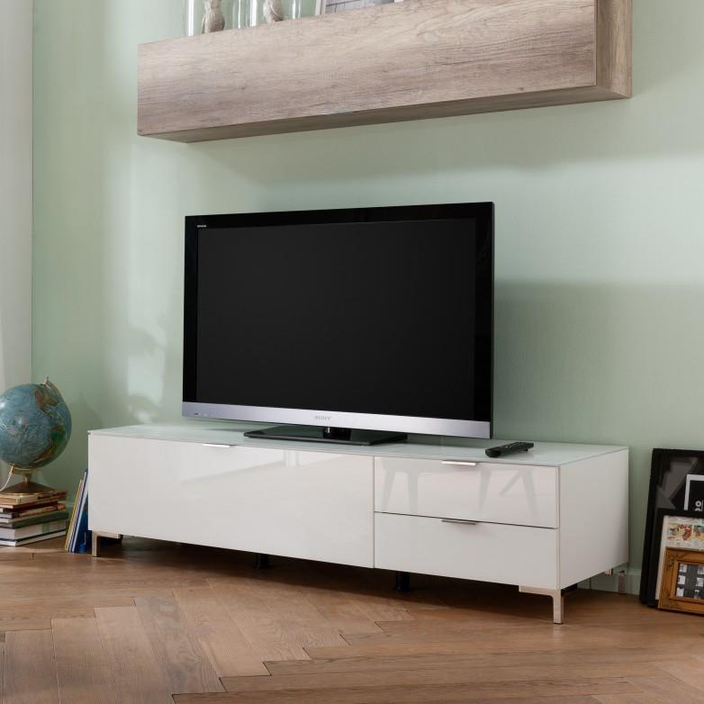 Ensemble de meubles TV Cleo II (2 éléments) - Blanc / Imitation chêne sauvage Pieds en chrome, Cs Sc