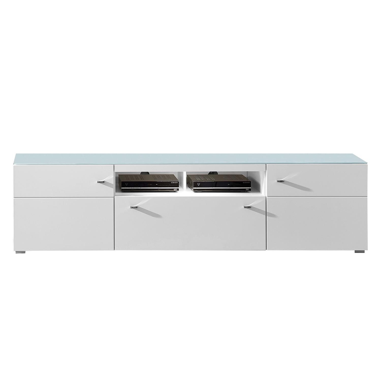 EEK A+, Meuble TV Courban (avec éclairage) - Blanc mat, loftscape