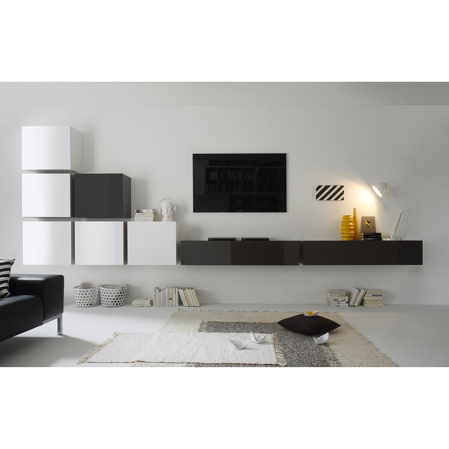 wohnwand cube lc ii 8 teilig hochglanz wei hochglanz anthrazit lc mobili bestellen. Black Bedroom Furniture Sets. Home Design Ideas