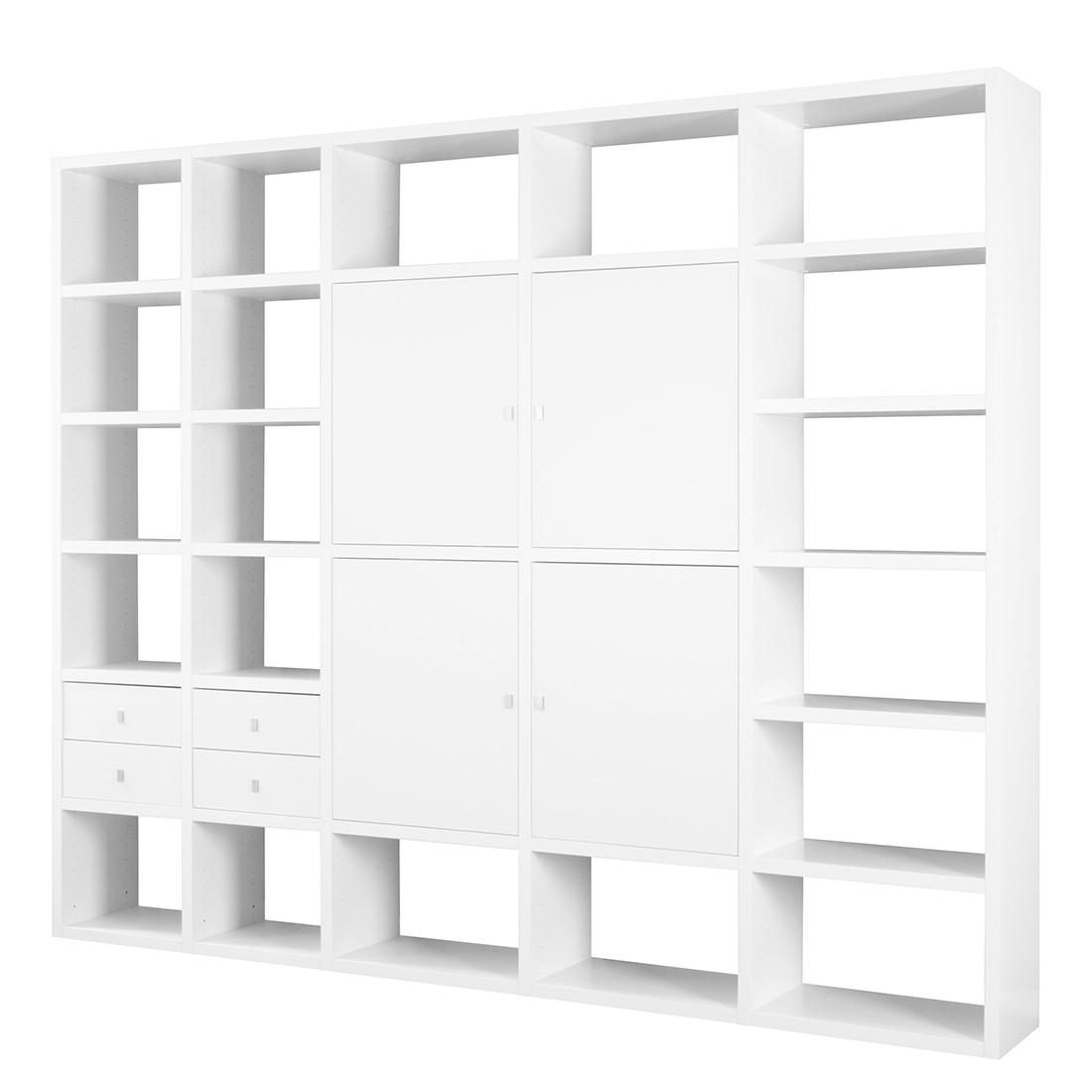 Ensemble meuble TV Empire - Blanc - 4 portes / 4 tiroirs, Fredriks