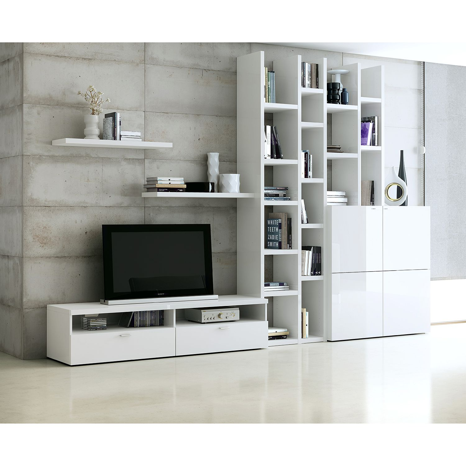 Ensemble de meubles TV Emporior i - Blanc brillant, Fredriks
