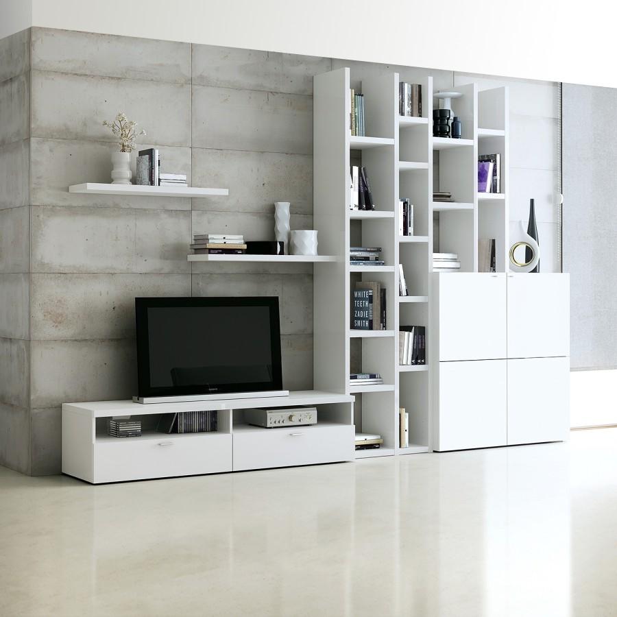 Ensemble de meubles TV Emporior i - Blanc, Fredriks