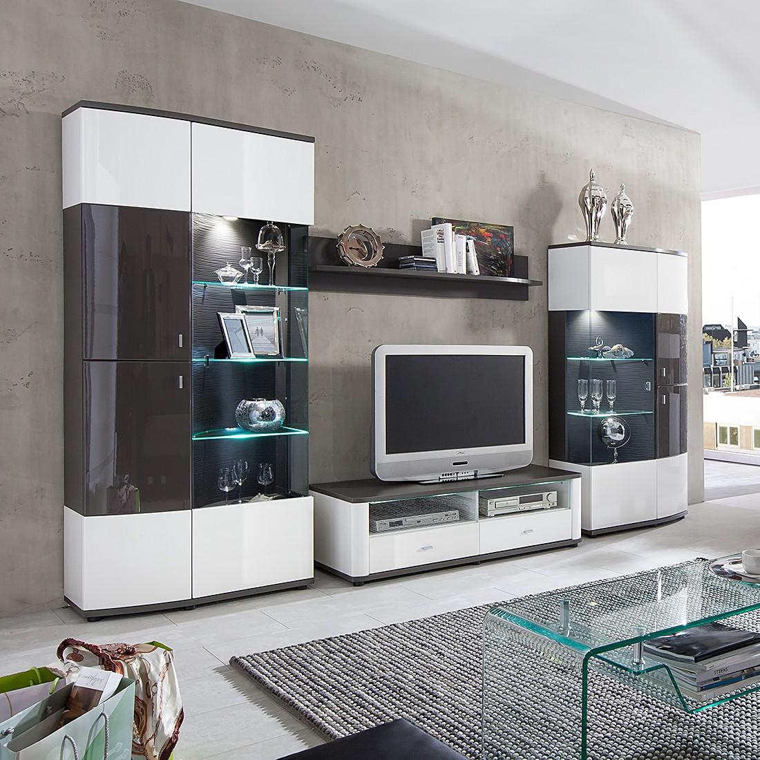 Hochglanz wohnwand grau preisvergleiche for Schrankwand wohnzimmer klassisch